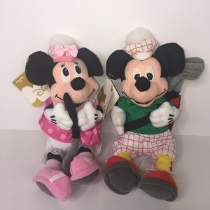 "Disney Store Golfer Mickey & Minnie Mouse 8"" NWT"